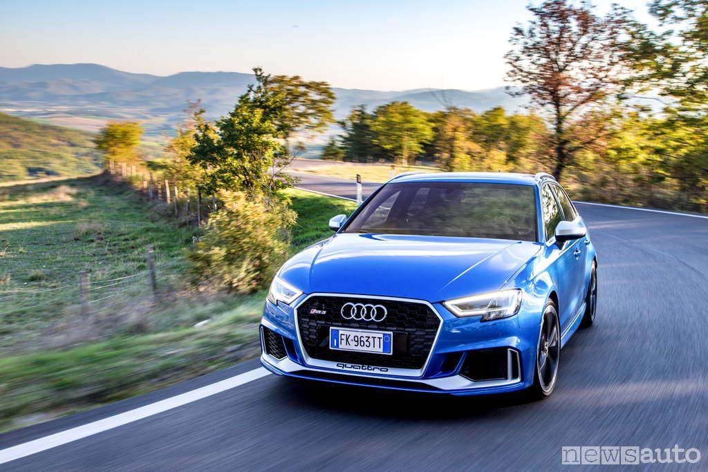 Audi RS 3 prova su strada passo del muraglione