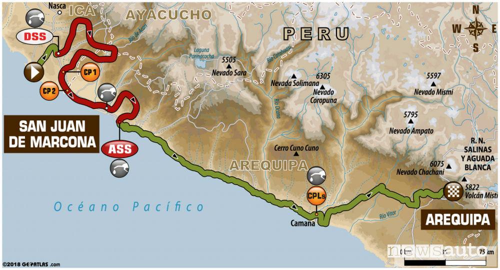 Dakar 2018 5^ tappa mappa San Juan de Marcona / Arequipa